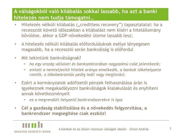 A válságokból való kilábalás sokkal lassabb, ha azt a banki hitelezés nem tudja támogatni…