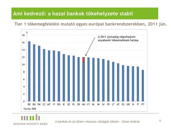 Ami kedvező: a hazai bankok tőkehelyzete stabil