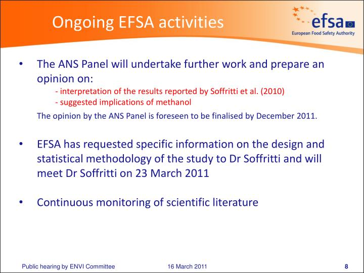 Ongoing EFSA activities