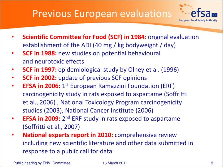 Previous european evaluations