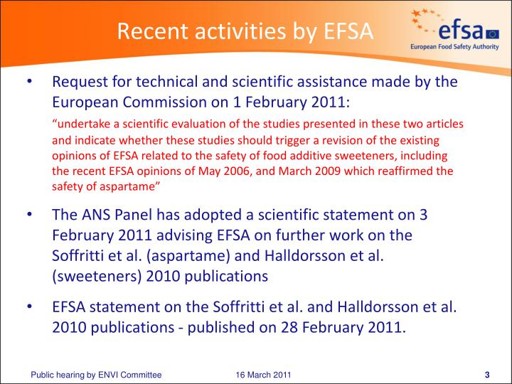 Recent activities by EFSA