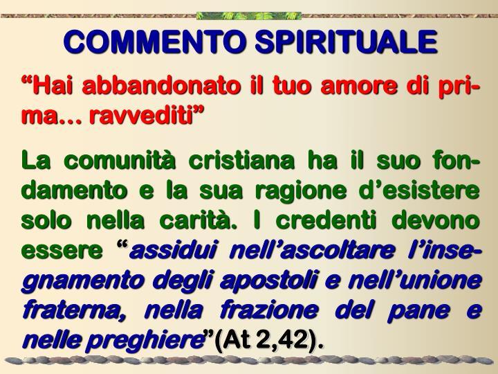 COMMENTO SPIRITUALE