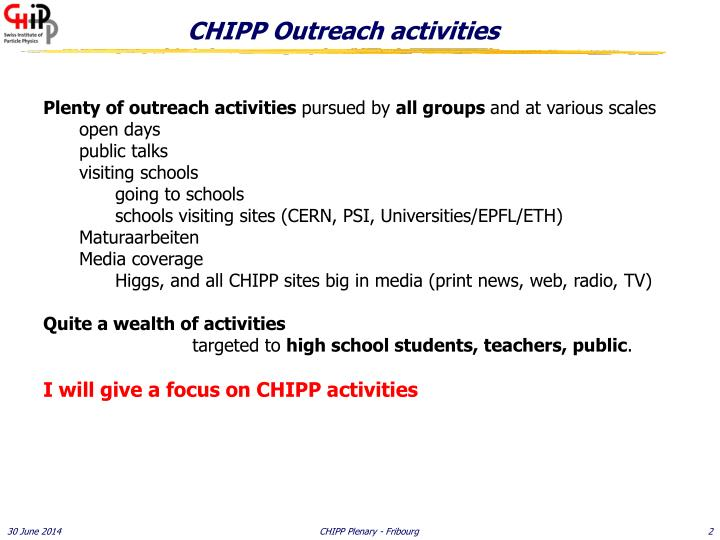 Chipp outreach activities