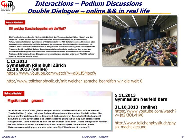 Interactions – Podium Discussions