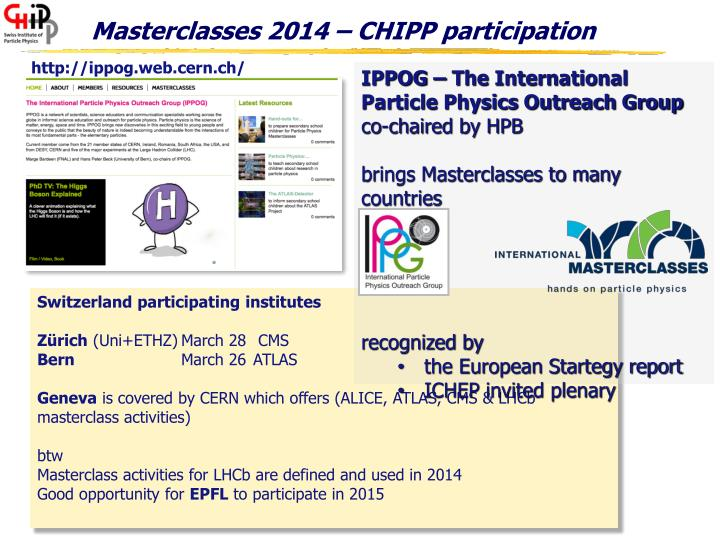 Masterclasses 2014 chipp participation