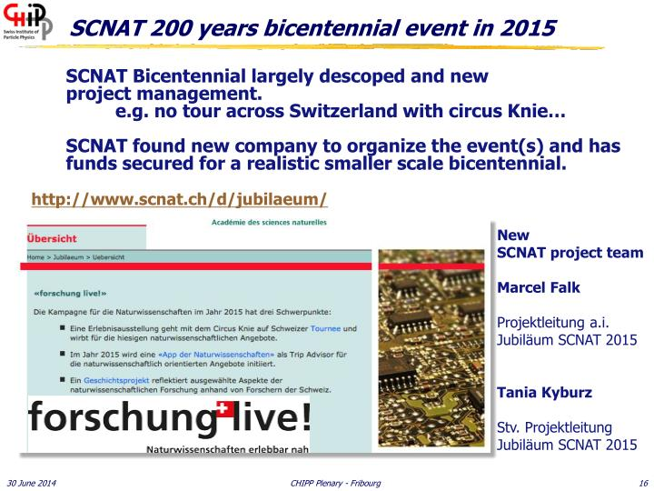 SCNAT 200 years bicentennial event in 2015