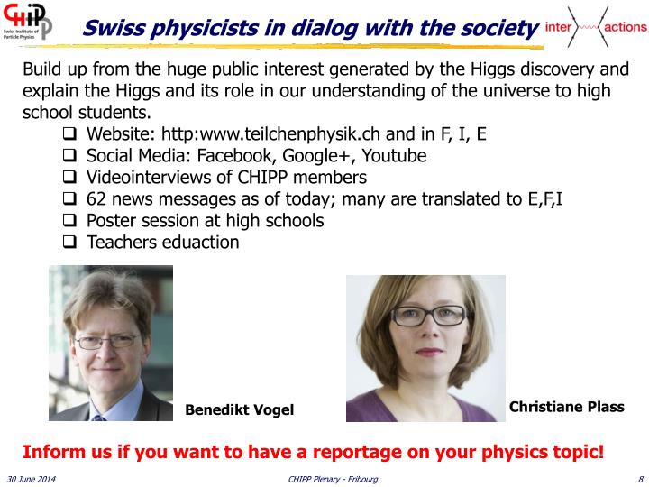 Swiss physicists in dialog with the society