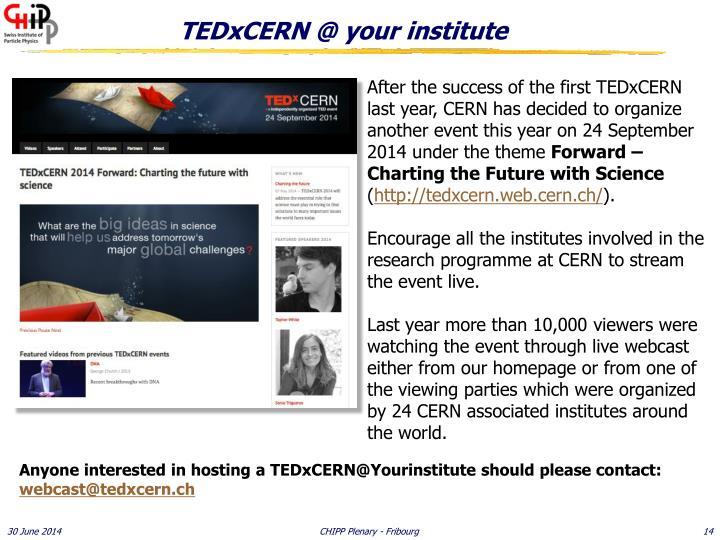 TEDxCERN @ your institute
