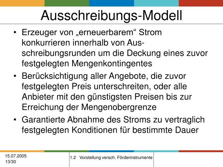 Ausschreibungs-Modell