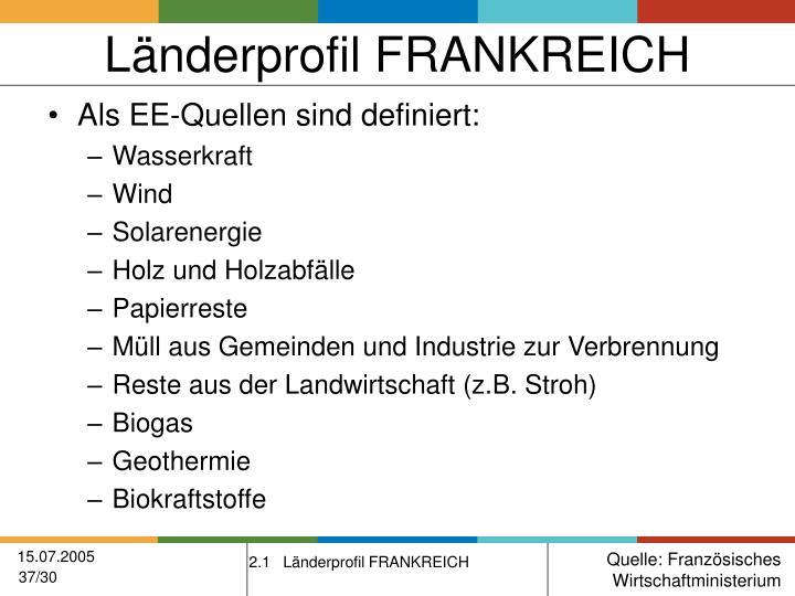 Länderprofil FRANKREICH