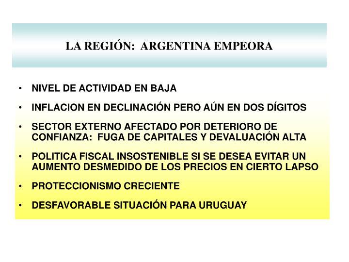LA REGIÓN:  ARGENTINA EMPEORA