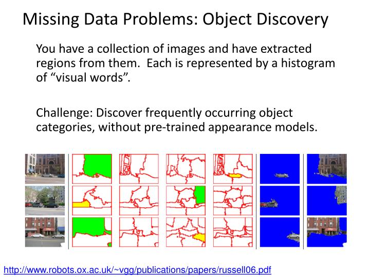 Missing Data Problems: Object Discovery