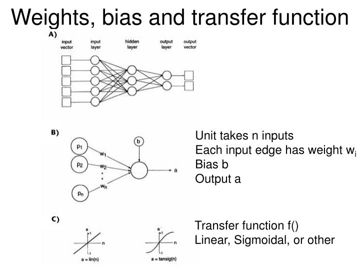 Weights, bias and transfer function