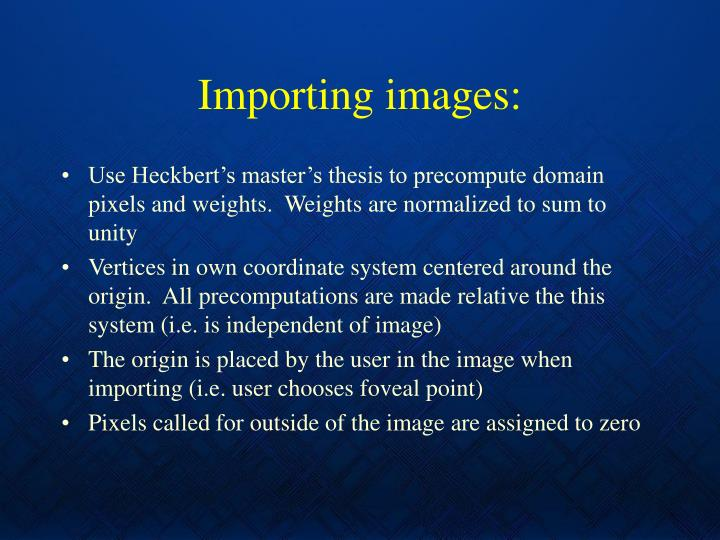 Importing images: