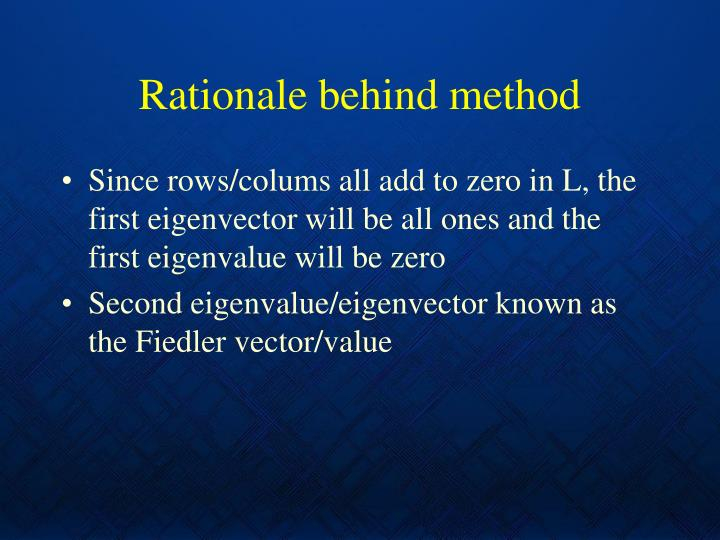 Rationale behind method