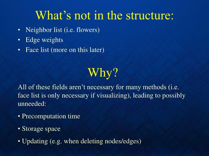 What's not in the structure: