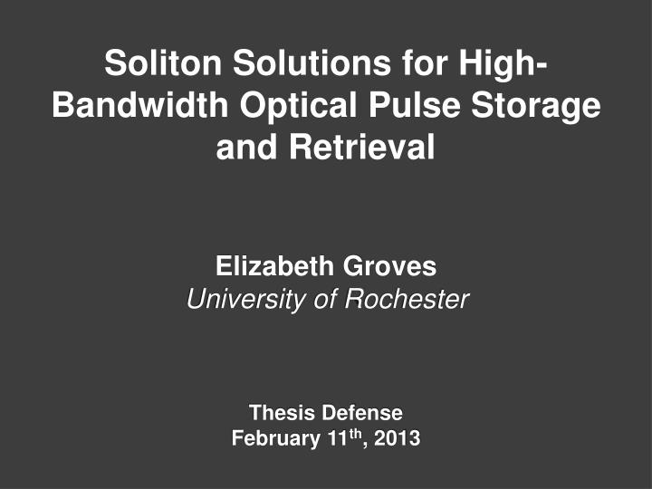 Soliton Solutions for High-Bandwidth Optical Pulse Storage and Retrieval