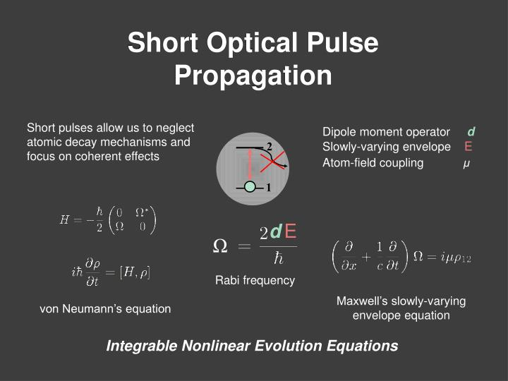 Short pulses allow us to neglect atomic decay mechanisms and focus on coherent effects
