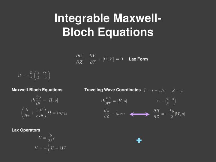 Integrable Maxwell- Bloch Equations