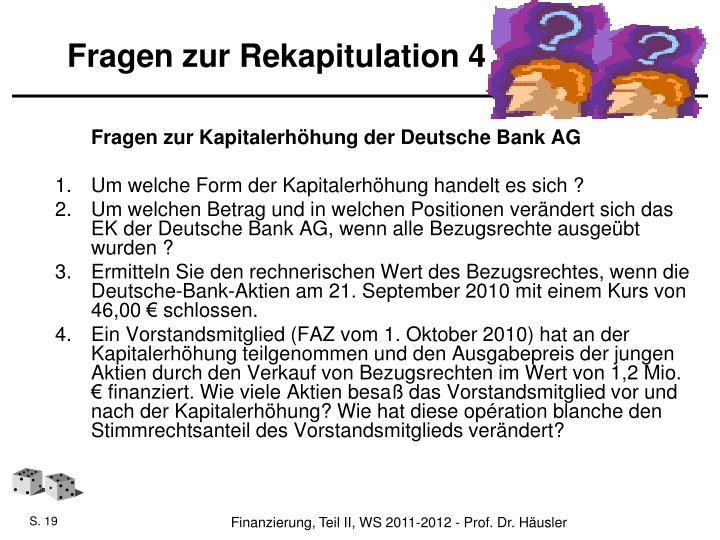 Fragen zur Rekapitulation 4