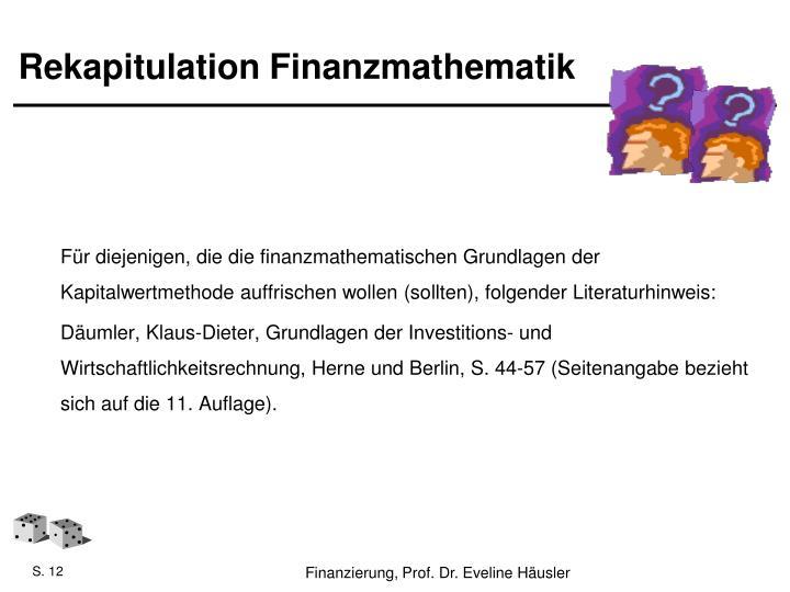 Rekapitulation Finanzmathematik