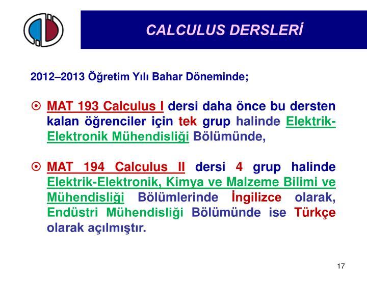 CALCULUS DERSLERİ