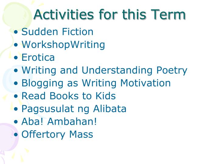 Activities for this Term