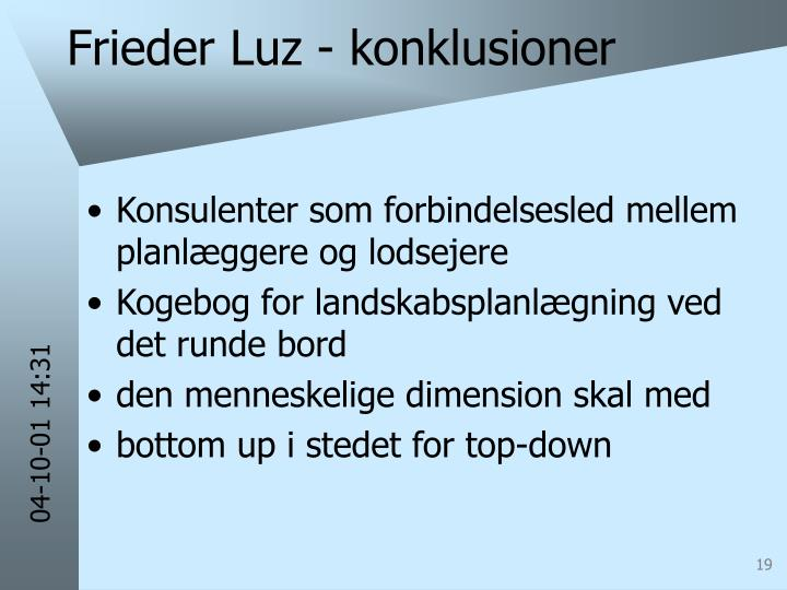 Frieder Luz - konklusioner