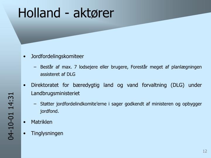 Holland - aktører