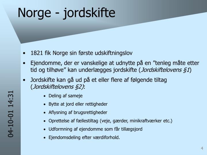 Norge - jordskifte