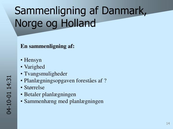 Sammenligning af Danmark, Norge og Holland