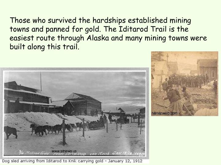 Those who survived the hardships established mining towns and panned for gold. The Iditarod Trail is the easiest route through Alaska and many mining towns were built along this trail.