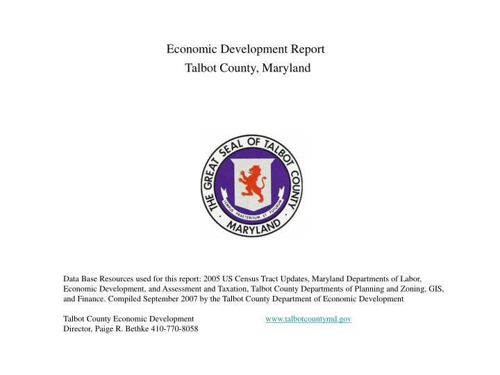 Economic development report talbot county maryland
