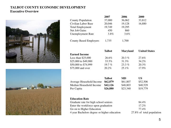 TALBOT COUNTY ECONOMIC DEVELOPMENT
