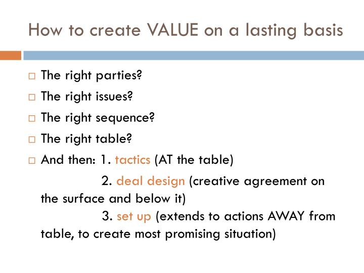 How to create VALUE on a lasting basis