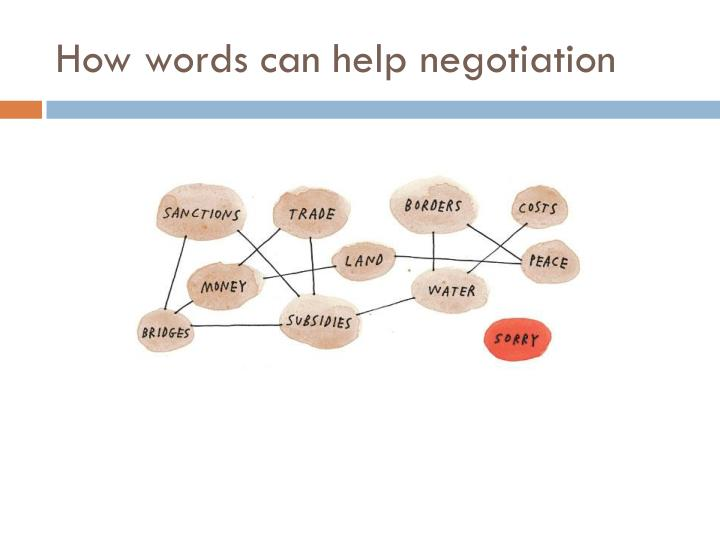 How words can help negotiation