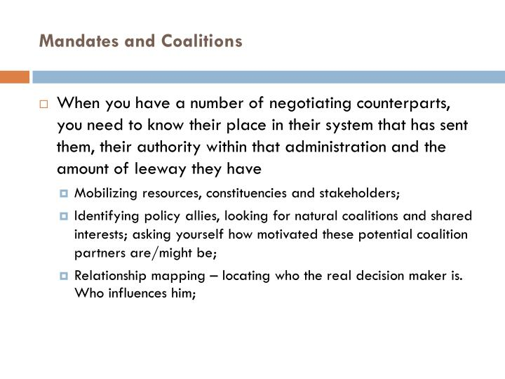 Mandates and Coalitions