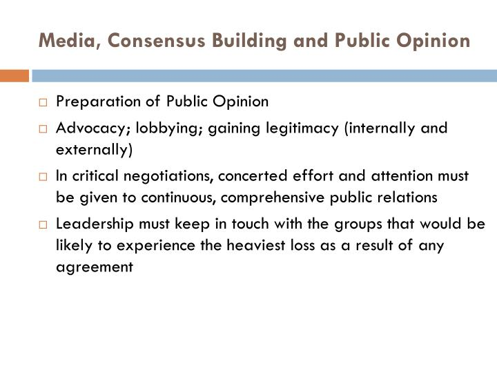 Media, Consensus Building and Public Opinion