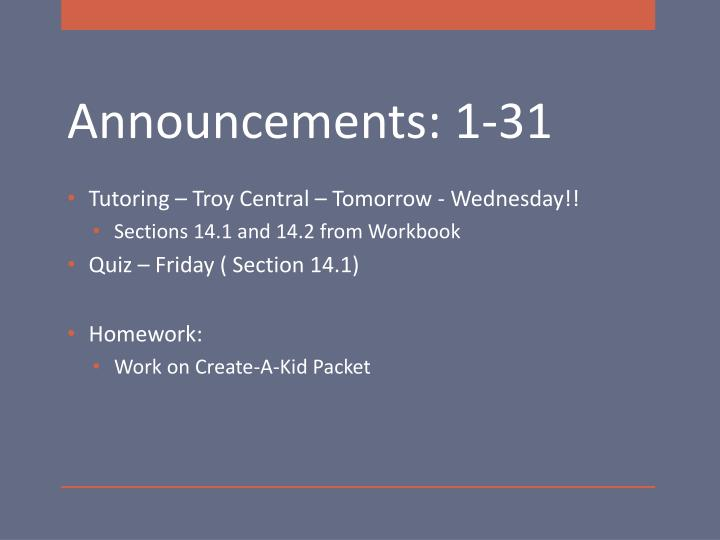 Tutoring – Troy Central – Tomorrow - Wednesday!!