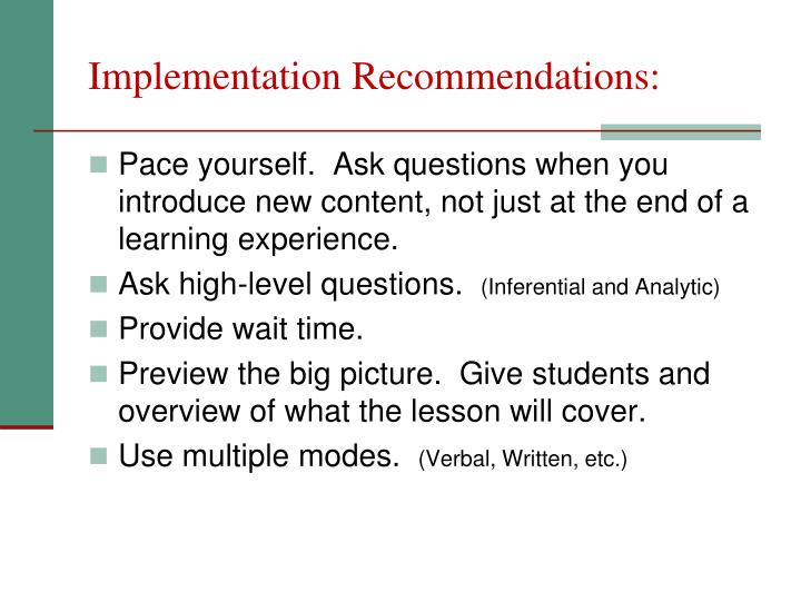 Implementation Recommendations: