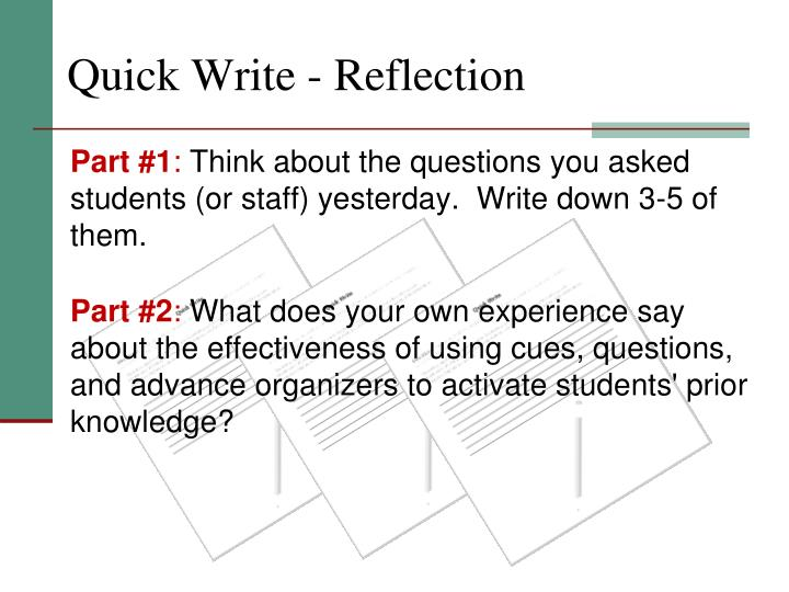 Quick write reflection