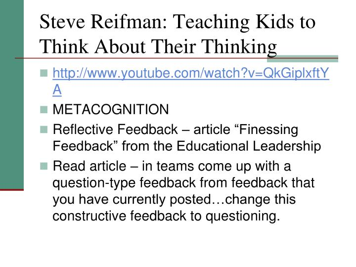 Steve Reifman: Teaching Kids to Think About Their Thinking