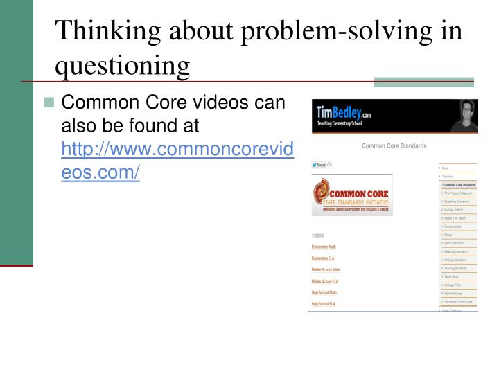 Thinking about problem-solving in questioning
