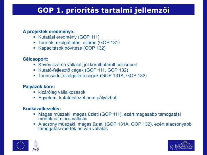 GOP 1. prioritás tartalmi jellemzői