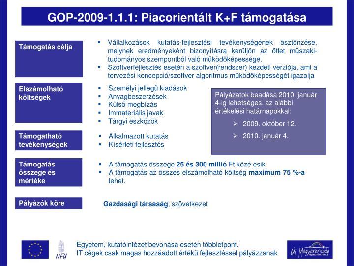GOP-2009-1.1.1: Piacorientált K+F támogatása