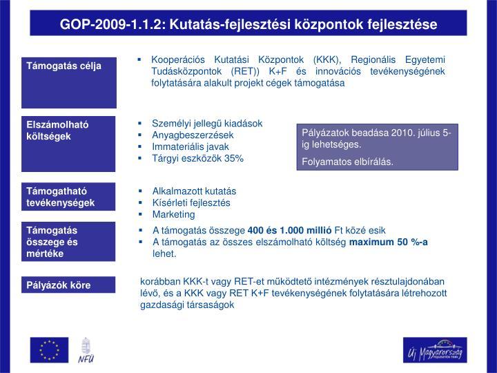 GOP-2009-1.1.2: Kutatás-fejlesztési központok fejlesztése