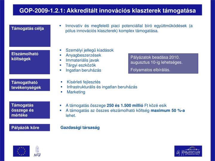 GOP-2009-1.2.1: Akkreditált innovációs klaszterek támogatása