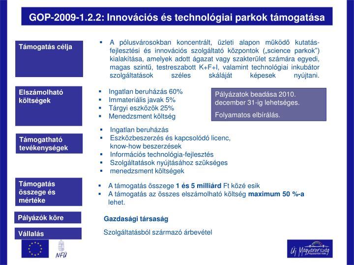 GOP-2009-1.2.2: Innovációs és technológiai parkok támogatása