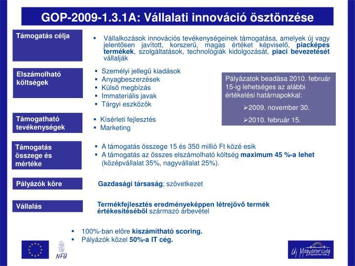 GOP-2009-1.3.1A: Vállalati innováció ösztönzése