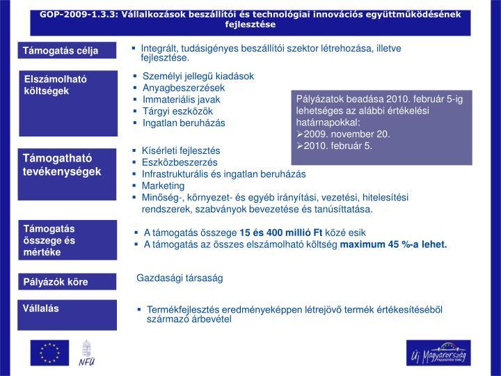 GOP-2009-1.3.3: Vállalkozások beszállítói és technológiai innovációs együttműködésének fejlesztése
